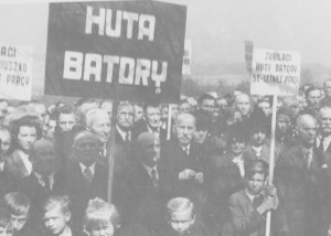 Hutnicy na poświęceniu placu budowy 1947 r.